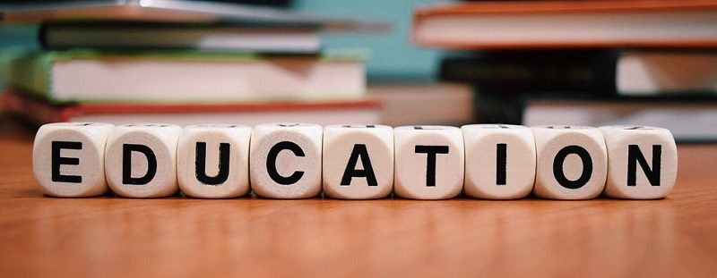 Scrabble letters spelling out the word education
