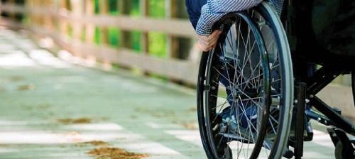 Wheelchair wheel on a bridge