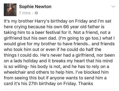 Model Sophie Newton's Facebook post about brother's birthday