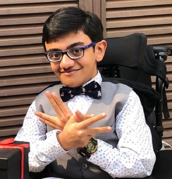 Sparsh Shah in his wheelchair