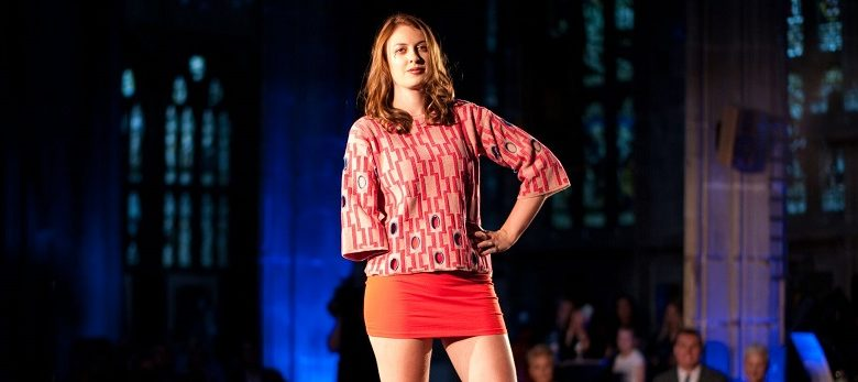 Photo of Disabled BBC weather presenter Lucy Martin's catwalk debut