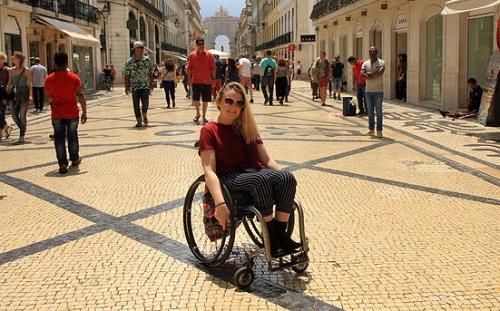 Shannon Kelly in Lisbon in wheelchair