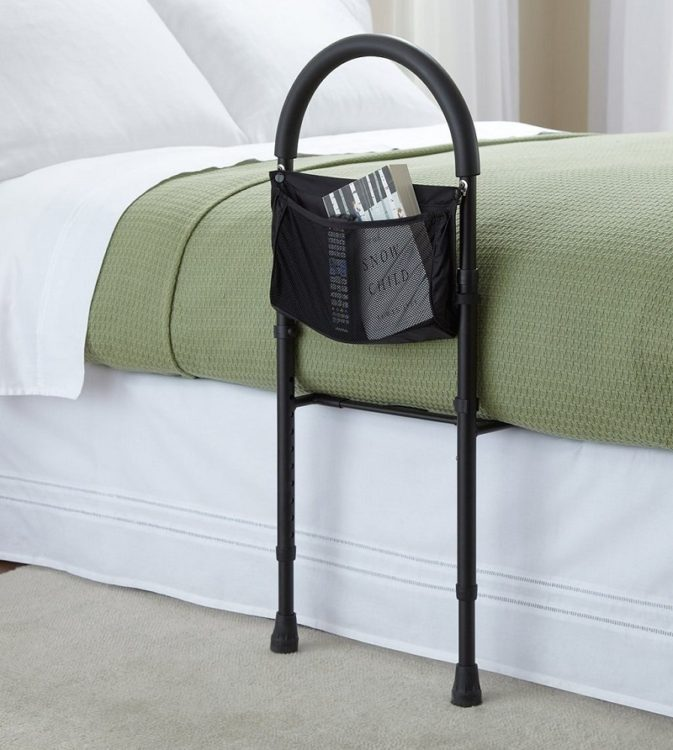Bed safety rail with storage