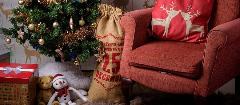 Christmas sack filled with presents