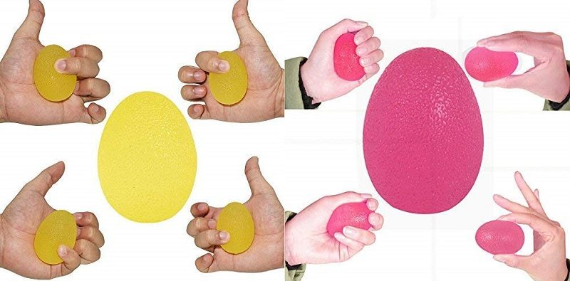 Hand exercise ball in yellow and pink