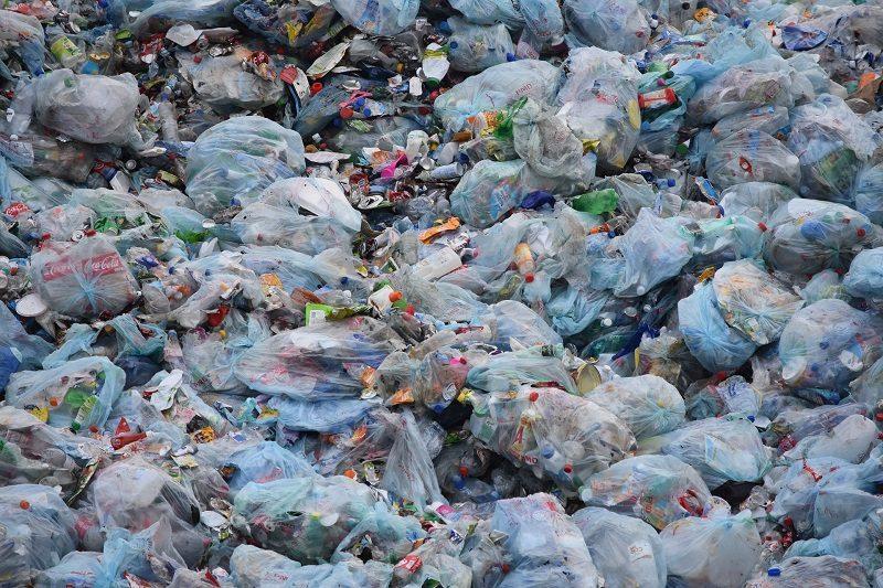 Plastic waste dump site