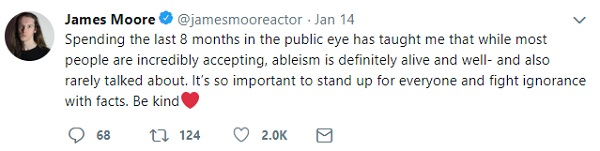 Disabled actor James Moore's tweet about ablism