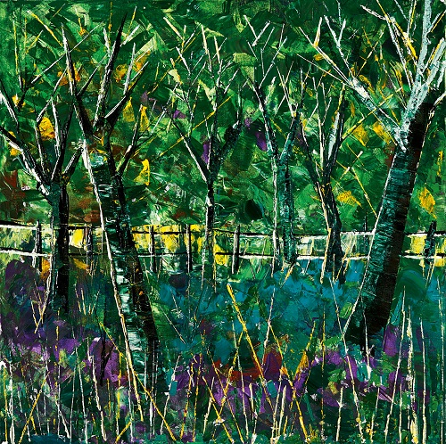 Disabled artist Tom Yendell's painting of a forest