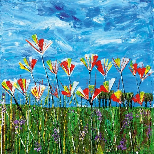 Disabled artist Tom Yendell's painting of flowers in field