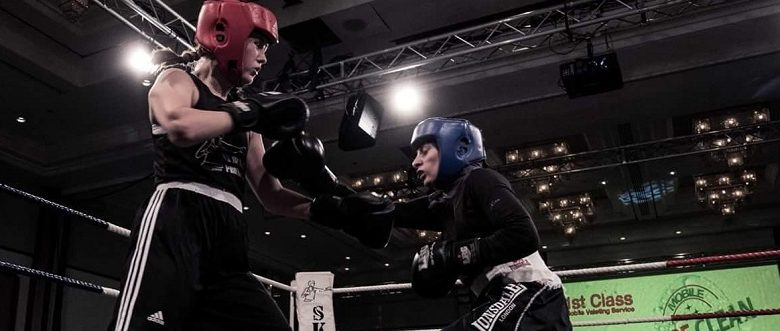 Disabled boxer Sannah Hussain in a fight