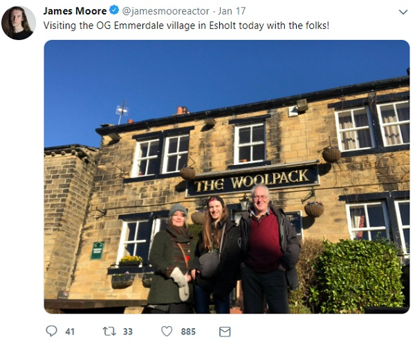 James Moore with his parents on Emmerdale set