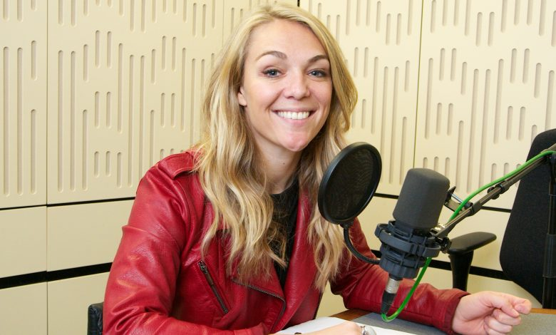 Sophie Morgan in a radio studio