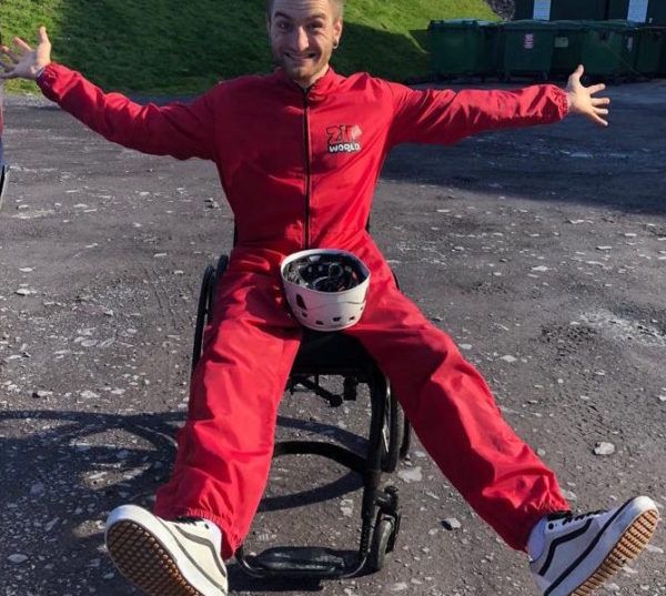 Dan in his wheelchair waiting to go on a zipline