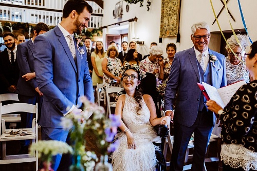 Tori and David getting married in an accessible country house