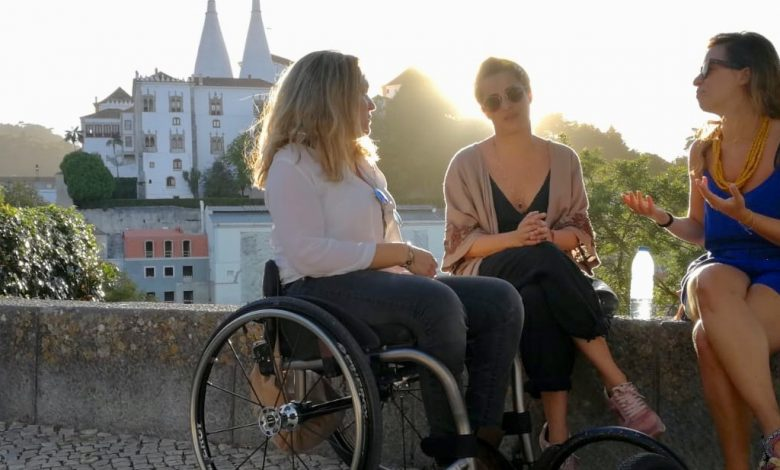 Woman in wheelchair in Sintra in accessible Portugal