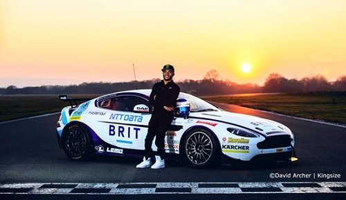 Nicholas Hamilton stood in front of Team Brit car