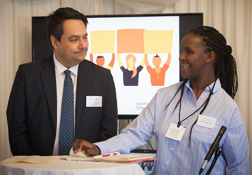 Maria Njeri, Lead Citizen Reporter for Kenya with Stephen Twigg MP at House of Commons