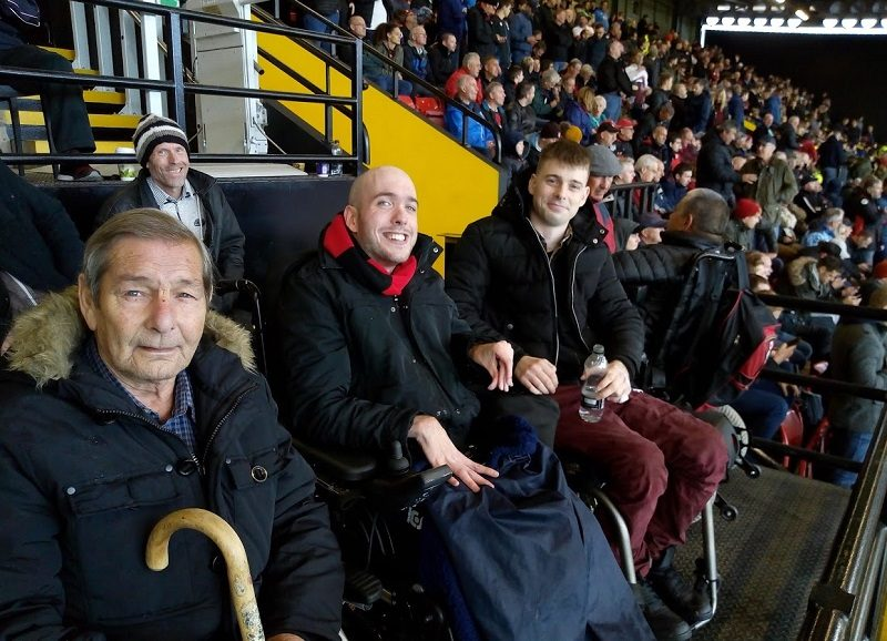 Cherries fans and wheelchair users Jim Lumber, Nick Bishop, Joe Heaton and Rob Trent at Watford v AFCB football game