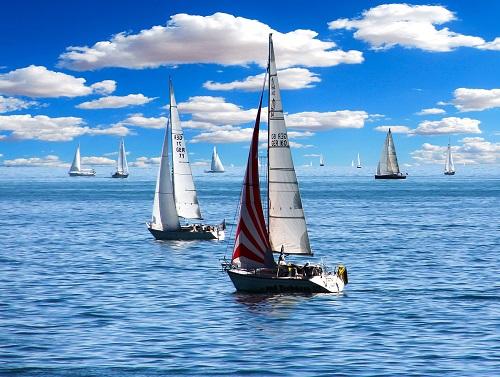 Sailboats on calm sea