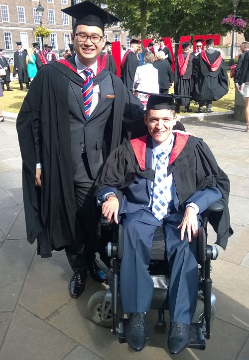 Wheelchair user Josh graduating from university