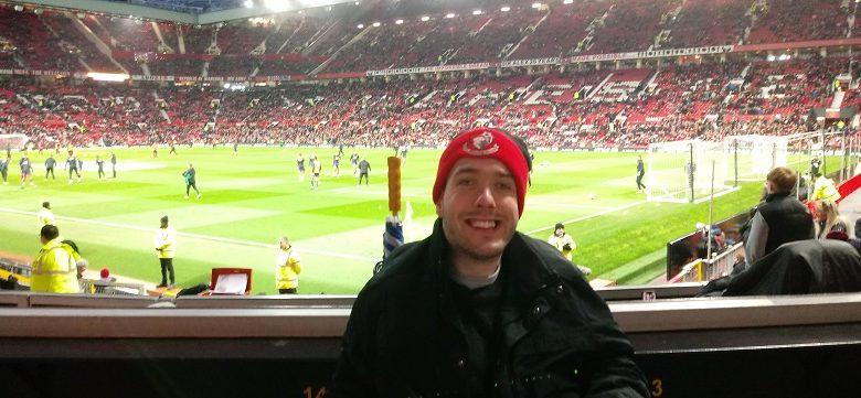 Wheelchair user Nick Bishop at Old Trafford on the away wheelchair platform