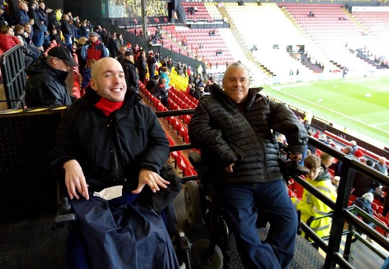 Wheelchair users Nick Bishop and Rob Trent at Watford v AFCB football game