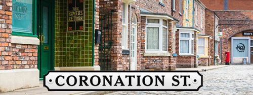 Coronation Street title on the set