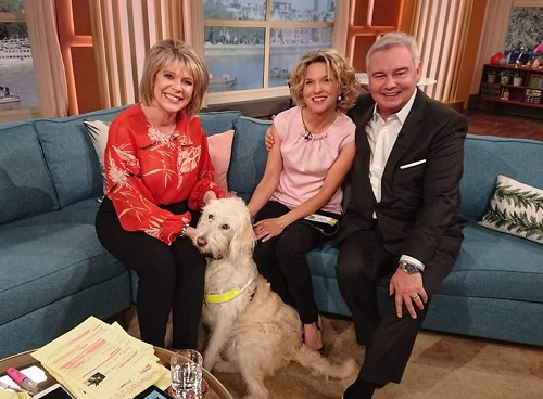 Guide Dog for blind woman Verity on This Morning sofa with Eamonn Holmes and Ruth Langsford