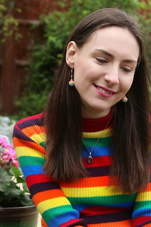 Rebecca Sullivan in a rainbow top