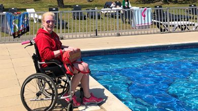 Photo of UK's first wheelchair user to qualify a swimming teacher and lifeguard