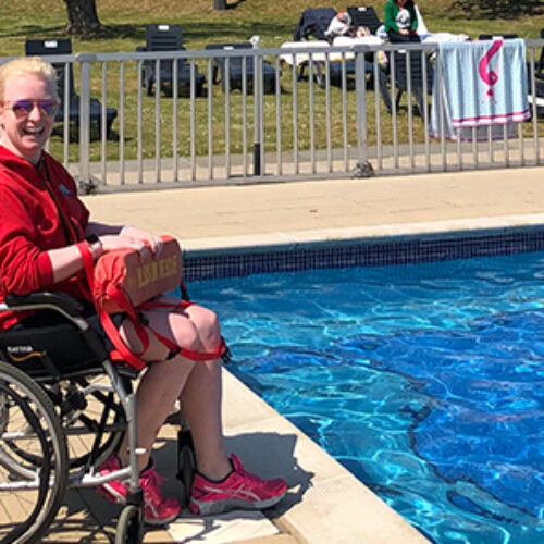 UK's first wheelchair user to qualify a swimming teacher and lifeguard
