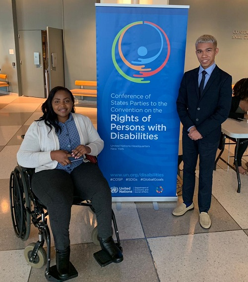Regina and Markus attending COSP as Leonard Cheshire's youth advocates for disabled people
