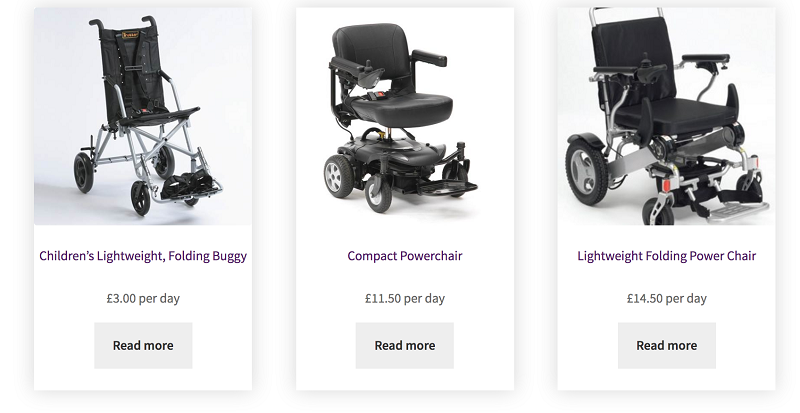 Strive Mobility wheelchairs to rent on website