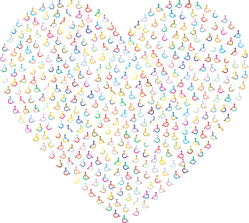 Heart shape made up of lots of colourful wheelchair symbols