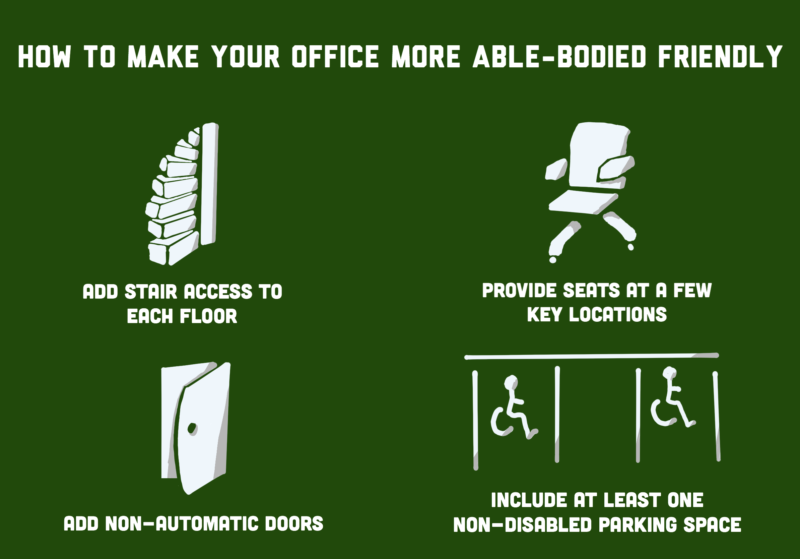 Illustration saying 'how to make your office more able-bodied friendly