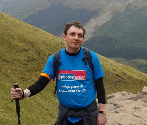 Joe Stevenson having climbed Ben Nevis for Epilepsy charity