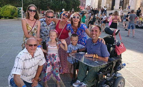 Wheelchair user Martyn Sibley with his fiance and family in Pula Croatia