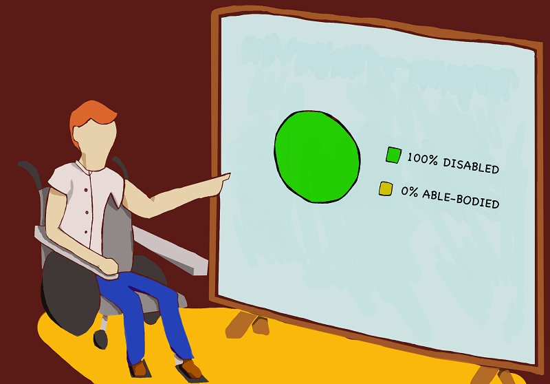 Illustration of man in wheelchair pointing to a white board with 100% disabled and 0% able bodied