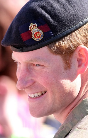 Prince Harry with military hat on