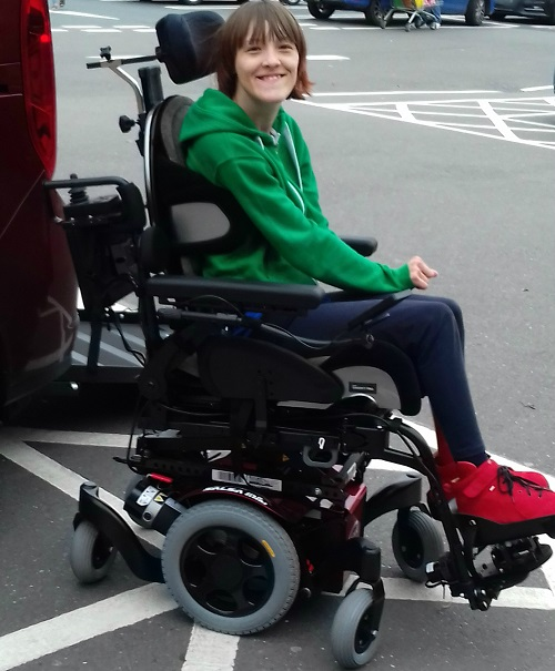Ailsa in her electric wheelchair