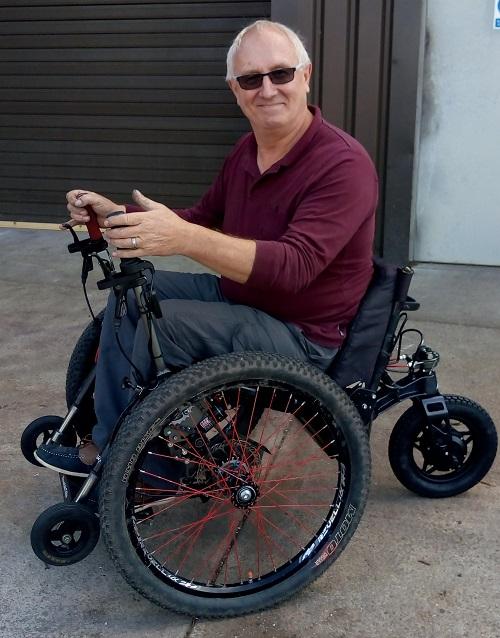 Richard Brooks on his Mountain Trike all-terrain wheelchair