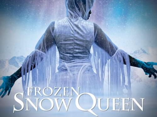 Poster for Frozen Snow Queen with woman in white from behind in snowy scene