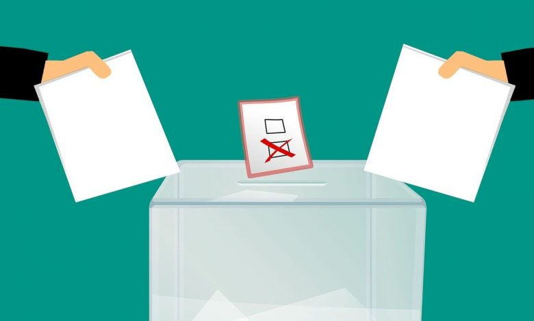 Graphic of two voting papers being put in ballot box