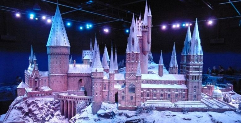 Model of Harry Potter school covered in snow at Universal