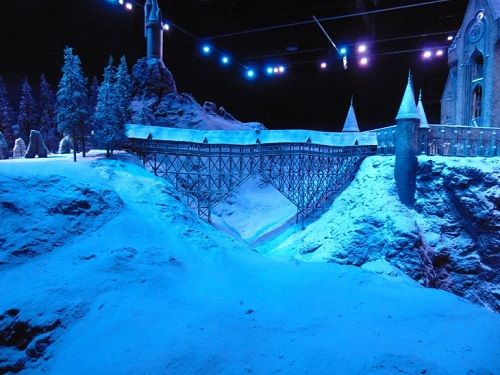 Model of Harry Potter manor covered in snow at Universal