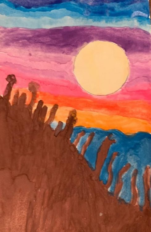 Painting of sky and sun behind mountains