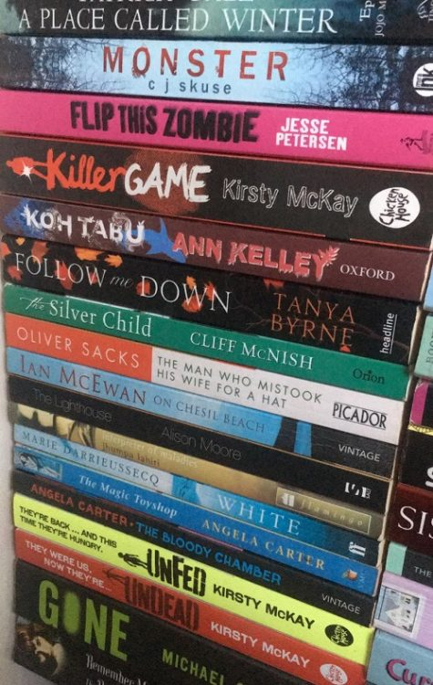 Stack of books on a shelf