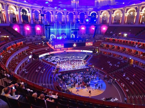 Stage and seating from above in Royal Albert Hall
