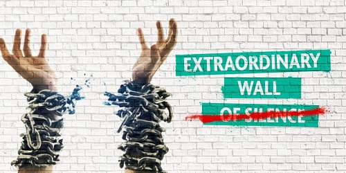 Extraordinary Wall of Silence poster with hands in the air in chains