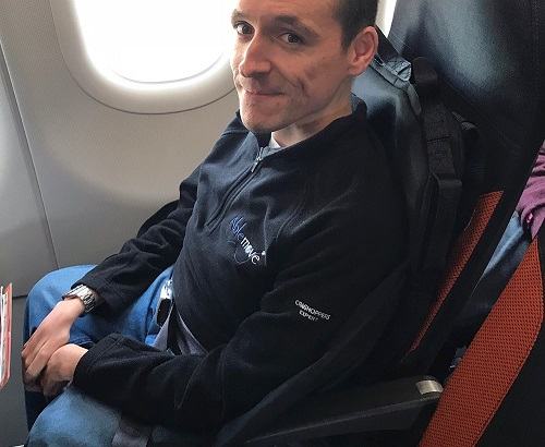 Josh Wintersgill in EasyTravelseat sat in an airoplane